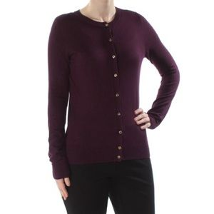 Calvin Klein Purple Cardigan Gold Engraved Buttons